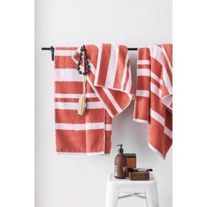 FINLANDEK Set de 2 Draps de douche 70x140 cm + 1 Serviette 50x100 cm KYLPY rayures corail et blanc