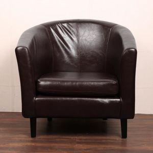Fauteuil salon cuir noir achat vente fauteuil salon for Fauteuil pour salle a manger