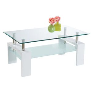 TABLE BASSE Table Basse Moderne Rectangulaire Blanche Gloria 3