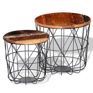 CONSOLE EXTENSIBLE 2 Tables basses rondes en bois recyclées 35 cm-45