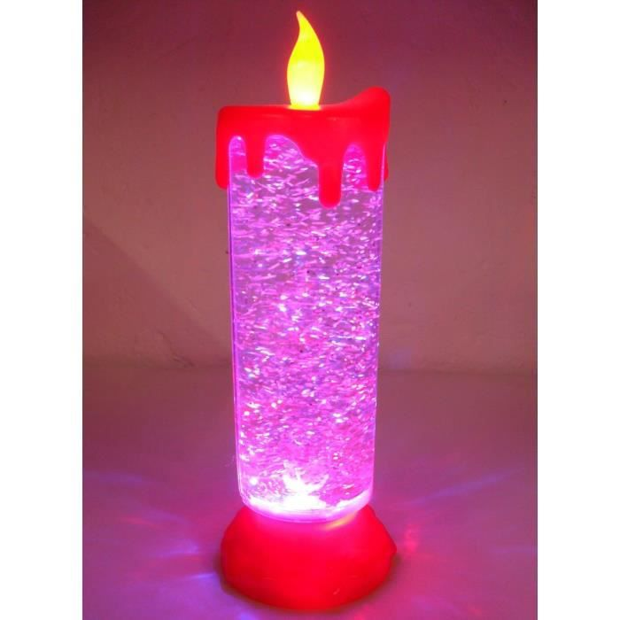 Grande Bougie Lumineuse Led Pailletee Rechargeable Micro Usb Et