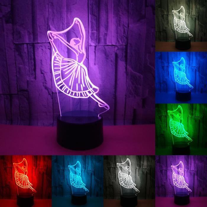 Illusion Garçon Danseur Enfants Pour Bureau Ballet Bébé Lampe 3d Cadeaux Nuit De Chambre Éclairage 7 Décor Lumière Couleurs DW9YHIE2