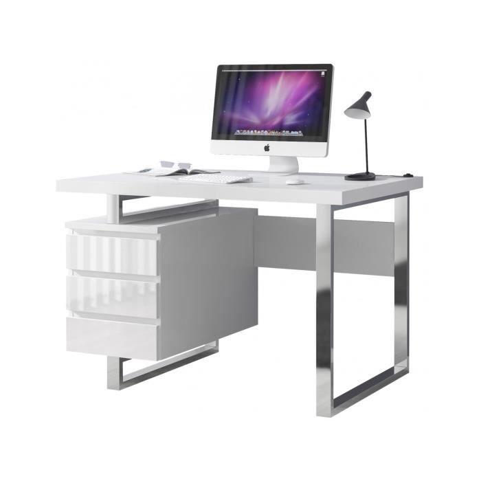 bureau blanc laque 3 tiroirs achat vente pas cher. Black Bedroom Furniture Sets. Home Design Ideas