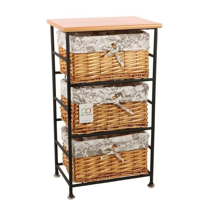 meuble de rangement chiffonnier 3 paniers en m tal et osier bois blanc achat vente. Black Bedroom Furniture Sets. Home Design Ideas