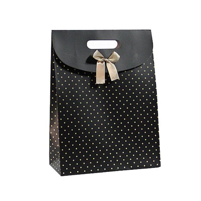 pochette cadeau en carton 16 x 12 x 5 cm couleur noir pois rose noeud achat vente. Black Bedroom Furniture Sets. Home Design Ideas