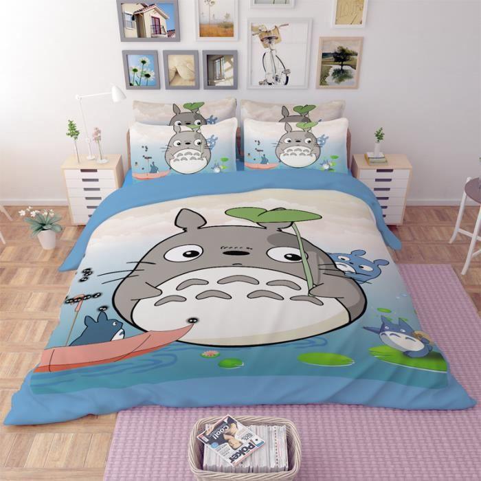 parure de lit totoro 200 230 cm 4 pieces achat vente parure de drap soldes d s le 10. Black Bedroom Furniture Sets. Home Design Ideas