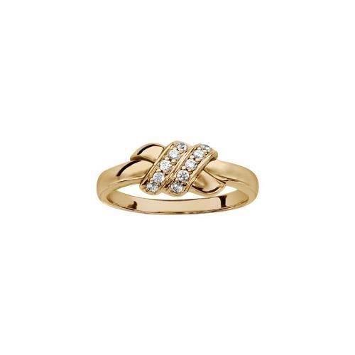 Bague plaqué or anneau motif croisé oxydes blancs