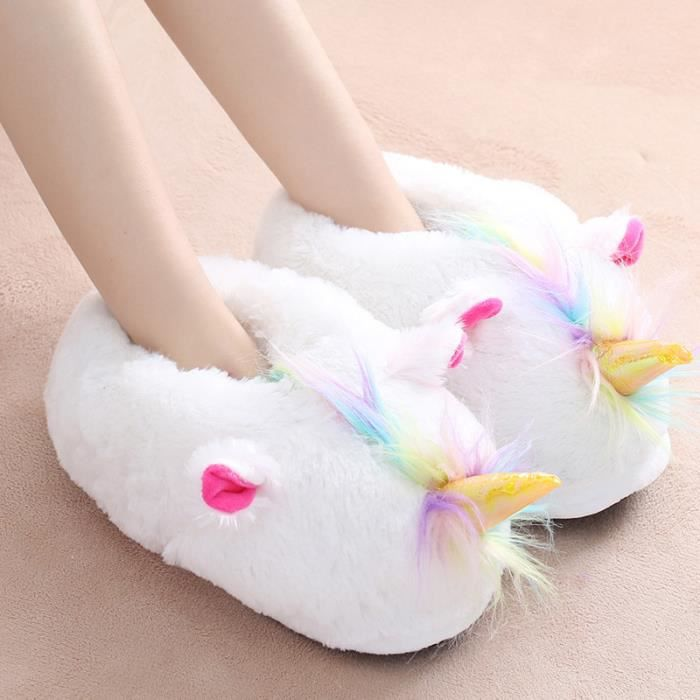 Femme Homme Pantoufles Peluche Chaussure Licorne Chaussons Suople Maison 4OKanlTMs