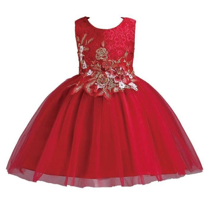 596ba8e7ced 2-12 ans-Robe Fille Cérémonie-Mariage Jupe Sans Manches  Princesse-performance Fille Robe Demoiselle de Honneur Fille