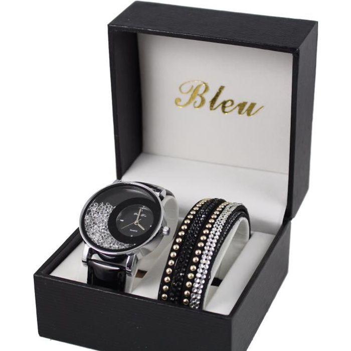 Super coffret montre femme cuir noir strass + bracelet double tour  GR06