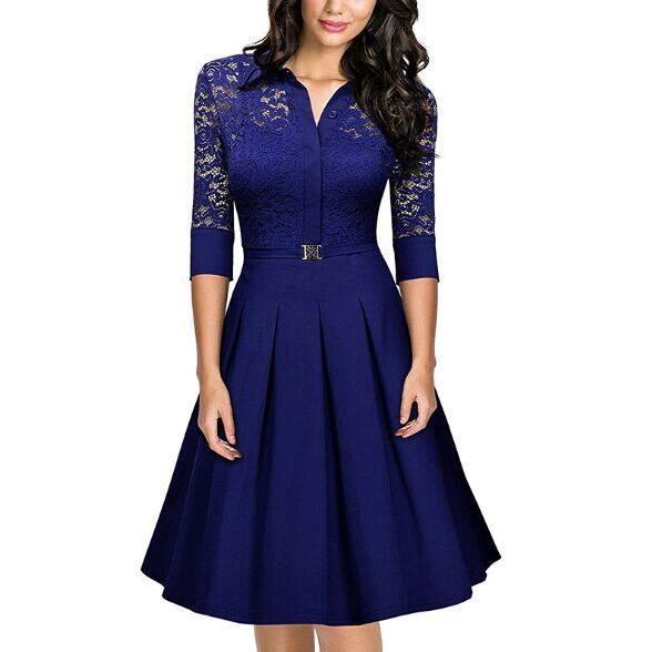 2017 été nouveau robe Femme dentelle mince robe Mettez un grand Sleeve printemps robe