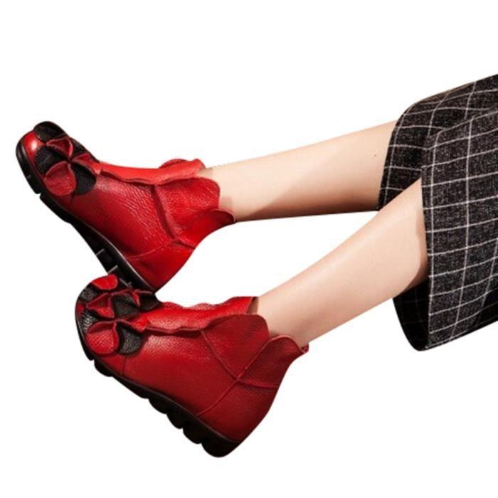 Bottes Martin Ethnique Fleurs Cousu Style Chaussures En yini12660 Femmes Main Dcontracte Cuir wxn0XRCHYq