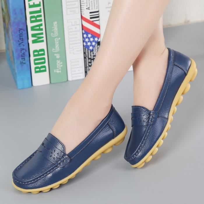Mocassin Femme Casual Plat Tout-match Chaussures Sandales Loafers YFzhe