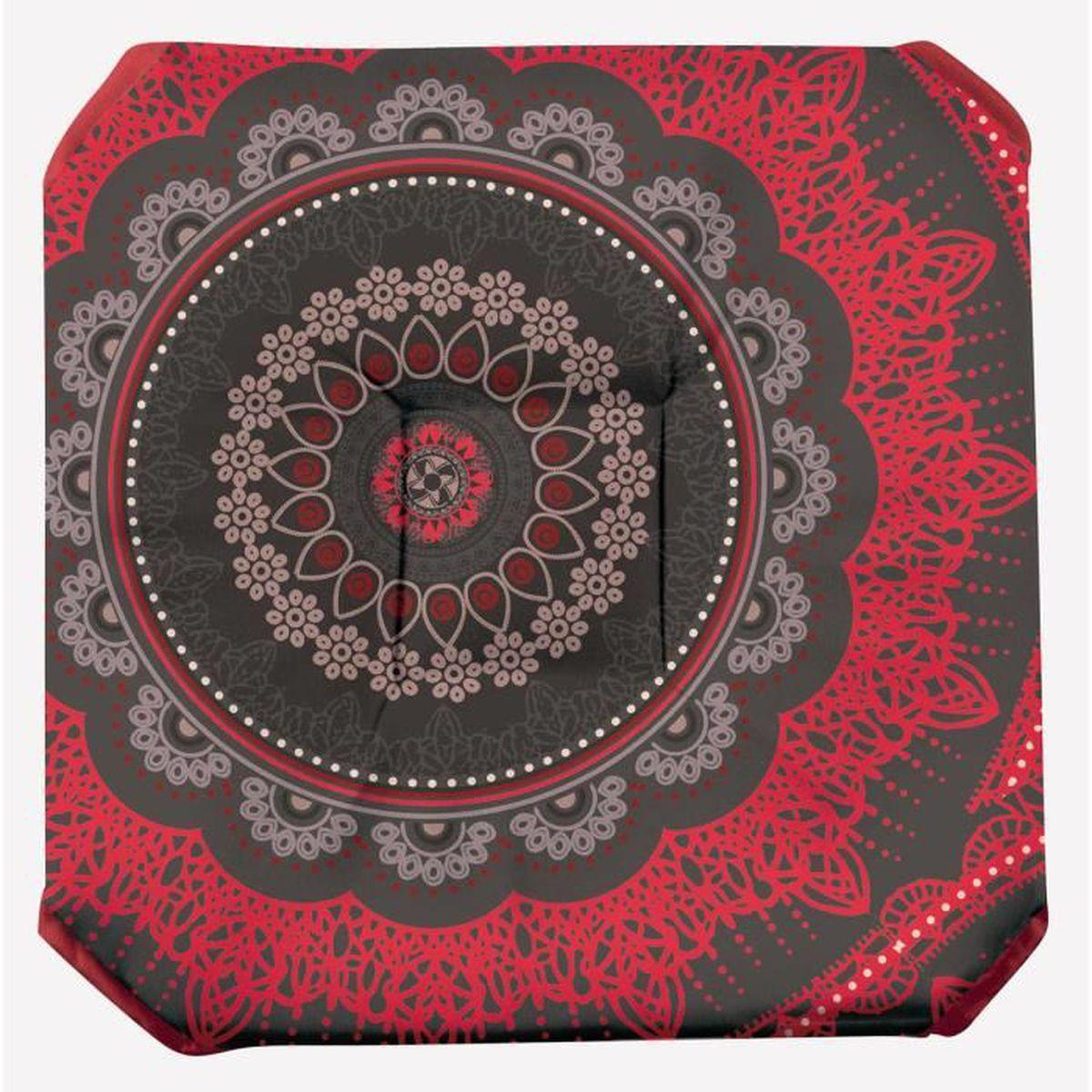 Galette de chaise anti taches rabat mandala rouge achat vente coussin de chaise cdiscount - Galette de chaise avec rabat ...