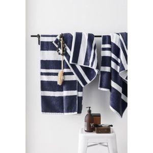 FINLANDEK Kyply Set de 2 draps de douche 70x140 cm + 1 serviette 50x100 cm - Bleu marine et blanc