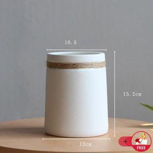 VASE - SOLIFLORE Vase Céramique Blanc Style Japonais Avec Chanvre C