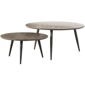 TABLE BASSE Ensemble de table basse rond design scandinave pla