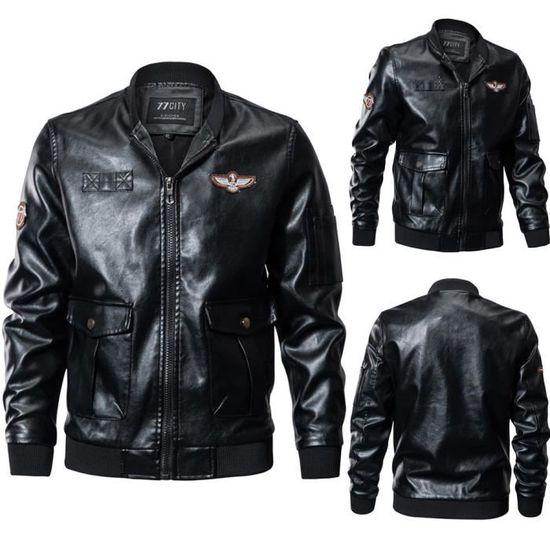 Imitation Manteau Hiver Col Pied Hommes Veste Cuir Zipper De En Noir Automne Mode 0q8wSS