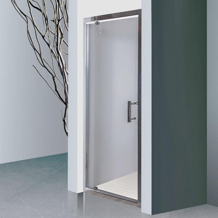 CREAZUR Porte de douche pivotante Nerina - 90 x 190 cm - Verre trempé 6 mm