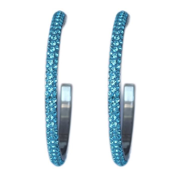 Womens 2.2 Hoop Earrings With Beautiful Sparkly Rhinestone - Crystals OZ5VN