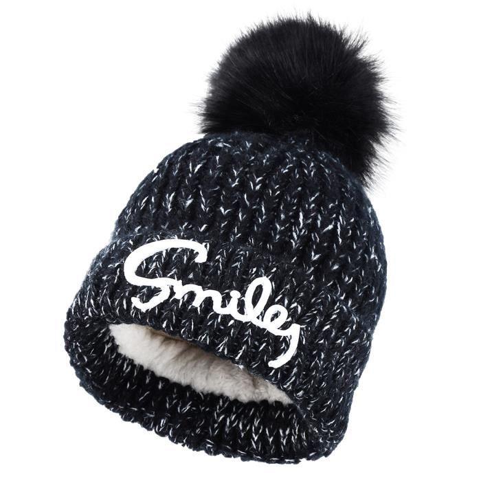 Vbiger enfants chapeau chaud enfants chapeau épais bonnet en tricot avec  doublure en peluche courte, noir 46dc4dc1582