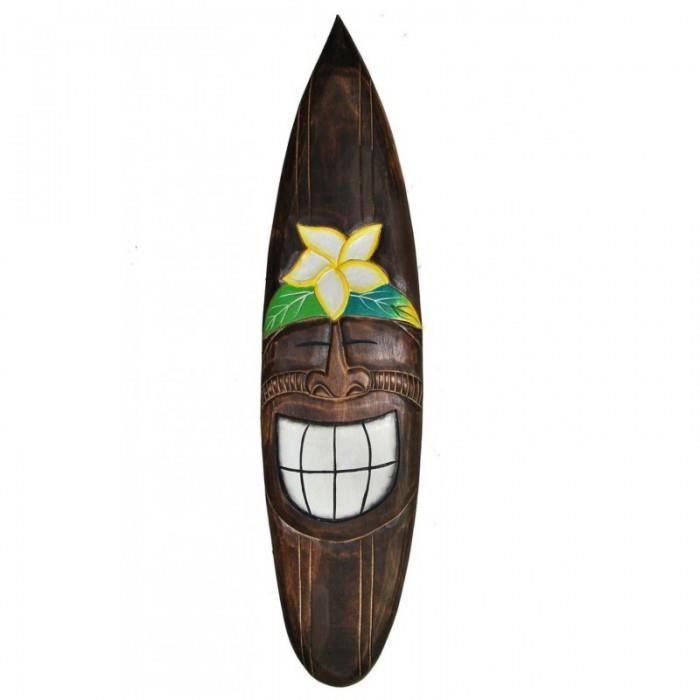 grande planche de surf bois fonc 100cm d co tiki hibiscus prix pas cher cdiscount. Black Bedroom Furniture Sets. Home Design Ideas