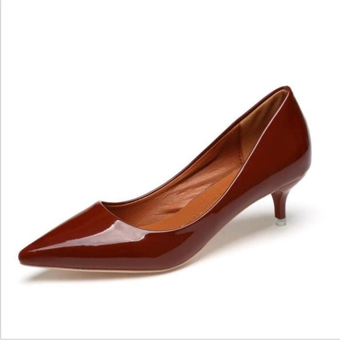 Femme Chaussure Nouvelle arrivee Durable Femmes Talons hauts de Marque De Luxe Chaussures noir rose marron Confortable Grande Taille