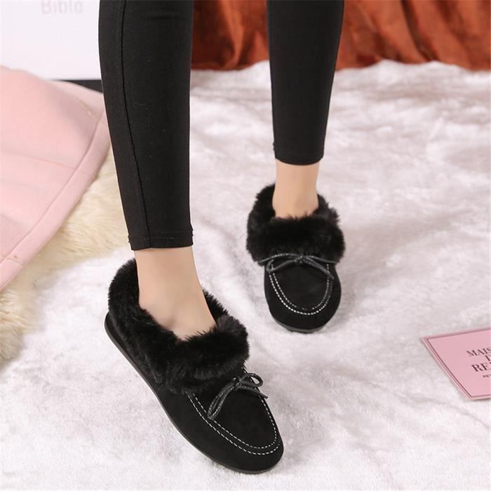 Femmes Chaussures Mocassin Marque De Luxe De Mode Design Chaud Plus Polaire Souliers