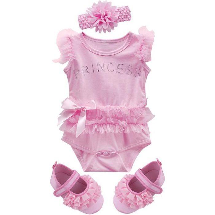 ddd9c20a94813 Vetement Bébé Fille Princesse Body Enfant Été Ensemble avec Bandeau et  Chaussures