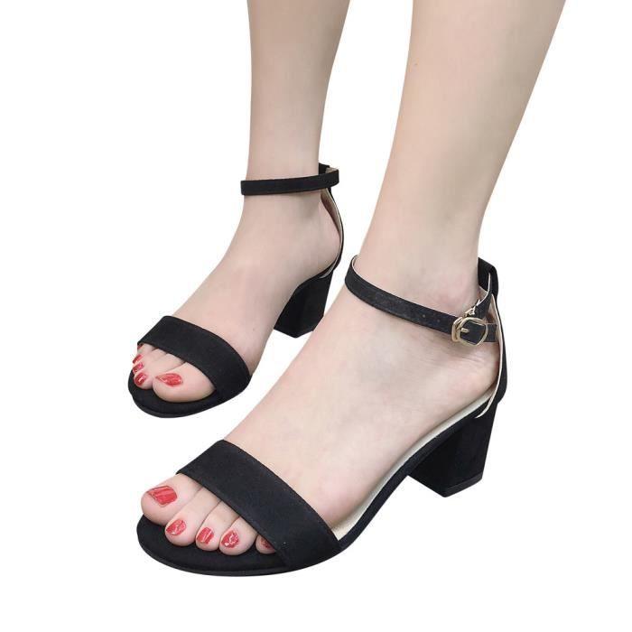 Cheville Open Chaussures Talon Femmes Toe Mi Bloc Party Dames Sandales Mode noir 80knOPwX