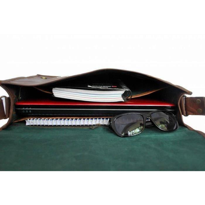Flap Brown 3mkrtt Bag Satchel Cross Messenger Laptop Leather Shoulder Dark Unisex Full wSCqvTxq