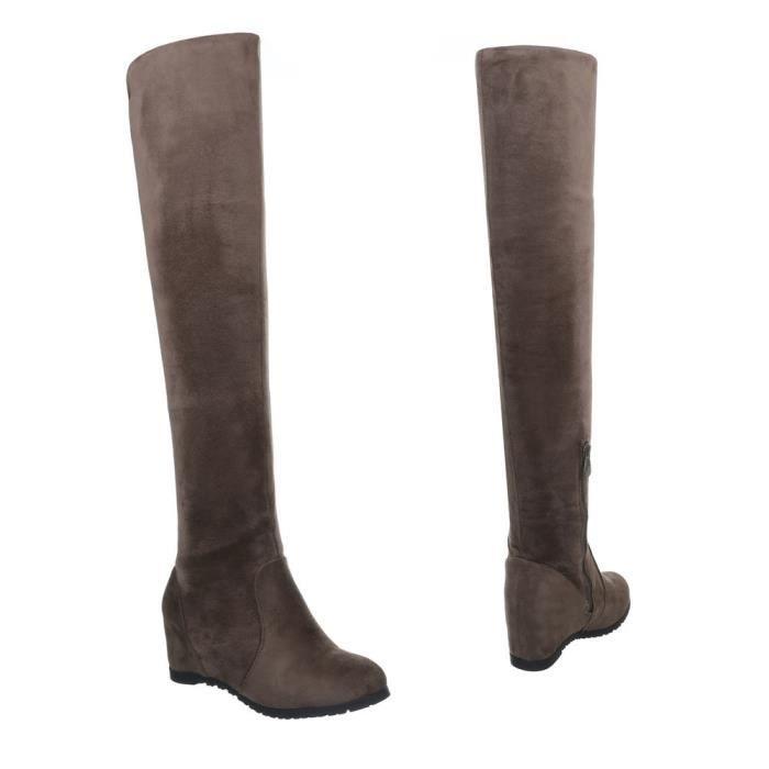 Chaussures femme bottes Talon compensé Overknee Olive 37