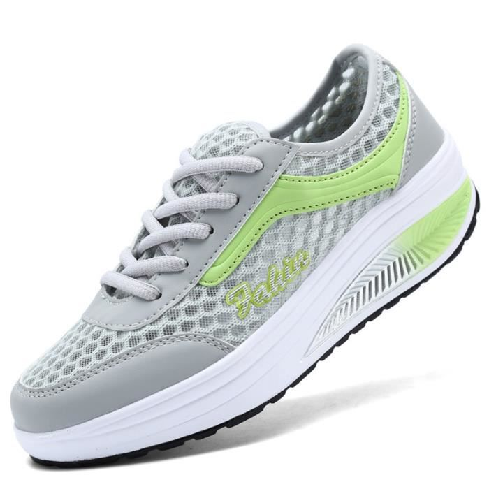 Plate-forme Mesh Slip-On Chaussures Femme Fitness travail Out Sneaker