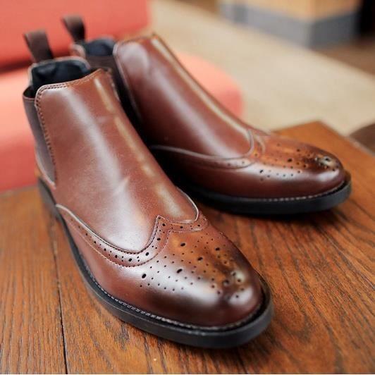 pour en Bottes Bottes cuir pour hommes plein véritable air Nouvelle main d'hiver qualité d'automne d'hiver haute de en wqAxYI