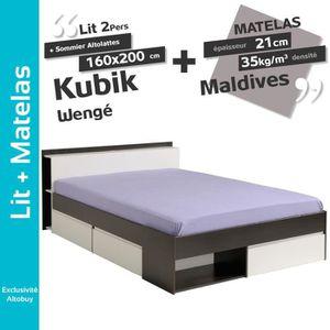LIT COMPLET Kubik Wengé - Pack Lit 160x200cm + Sommier Altolat