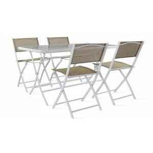 SALON DE JARDIN  Table de jardin en acier et verre et 4 chaises pli