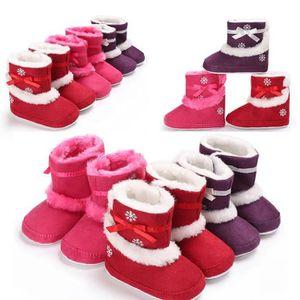 Super chaud fond mou Chaussures b rose-rouge Lrose-rouge L ébé d'hiver unisexe Nouveau-né Garçons Filles Anti-Slip Bottes pour 4Z4q8RpTl