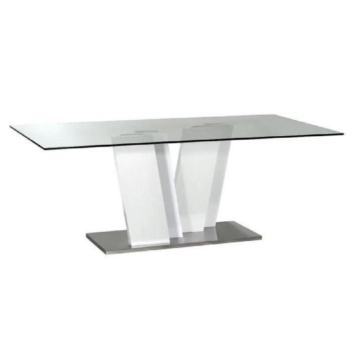 Table a manger en verre avec pied blanc laque achat for Table a manger blanc laque pas cher
