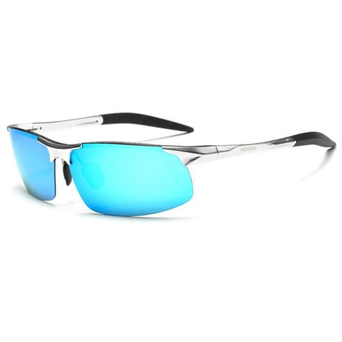 choisir véritable comment avoir style moderne WoWa® Homme Lunettes de Soleil Polarisé de Sport Al-Mg Métal Cadre Super  Léger - Argent Bleu