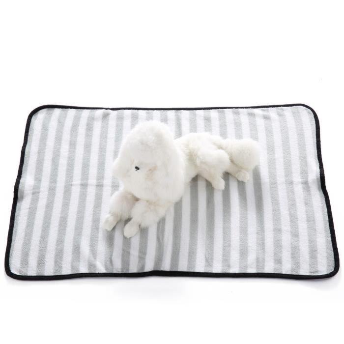 Chaud Pet Tapis Pour Chiens Chats Rayures Doux Couvertures Couverture Confortable Gris_c*1287