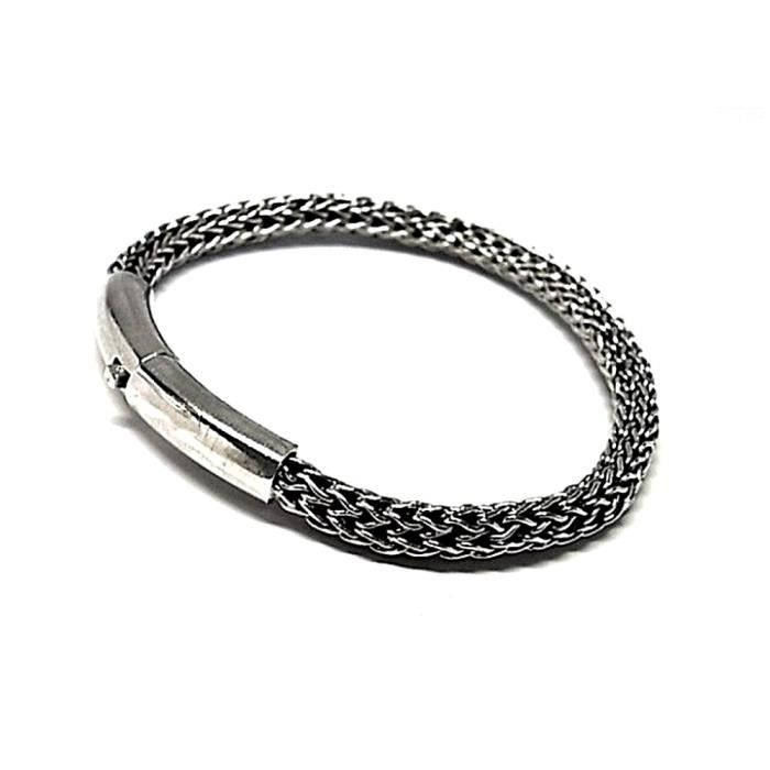 Bracelet loi 925m argent oxydé lisse [AB0061]