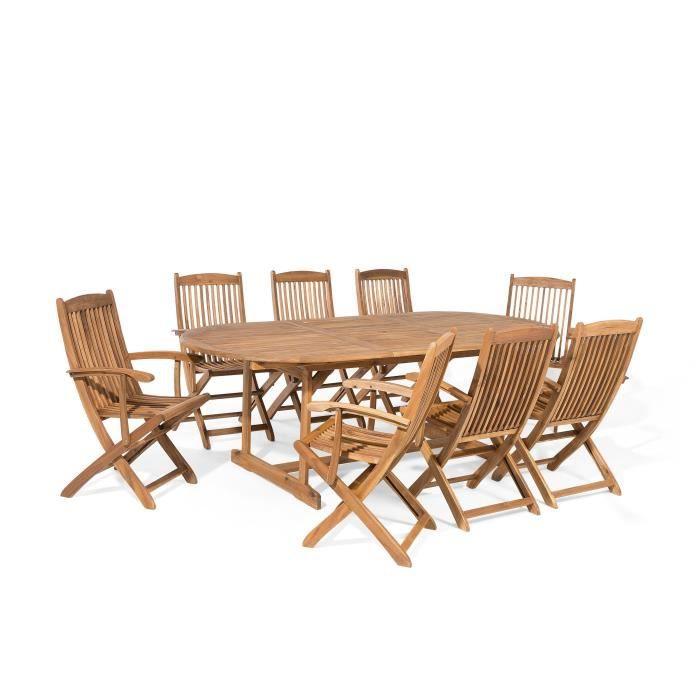Table et 8 chaises de jardin en bois acacia Maui - Achat / Vente ...