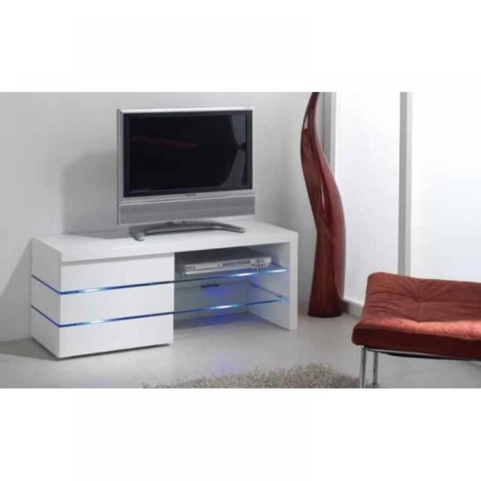 Meuble tv leon blanc brillant et lumi re led achat - Meuble tv avec lumiere ...