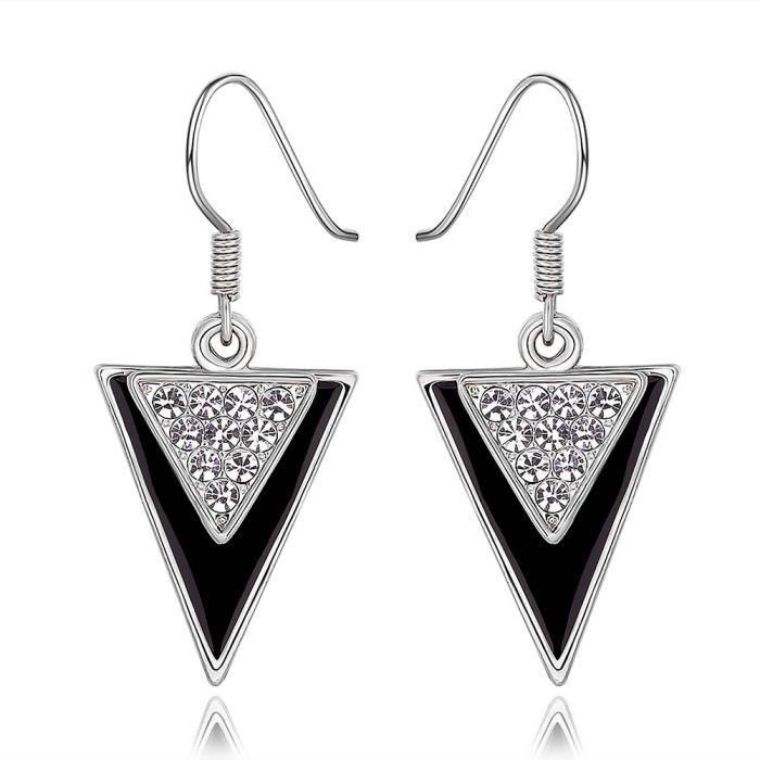 Boucles doreilles pendante Plaqué platine 750/00 18K carats Bijou fantaisie haut de gamme Cristal Strass Femme Blanc Triangle Icèle