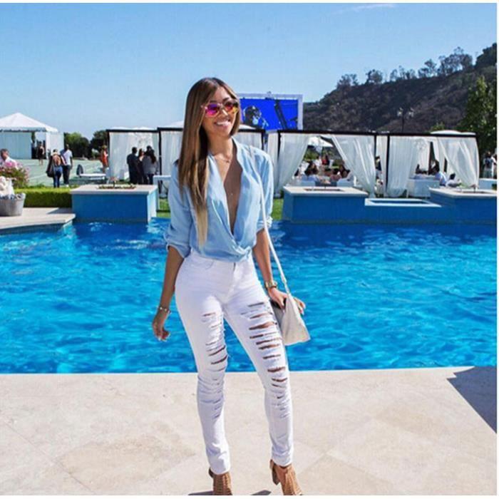 0400dbd0e2a63 Femme Taille Haute Maigre Déchiré Slim Moulante... Blanc blanc ...