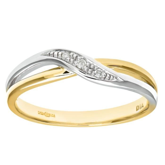 Revoni Bague Diamant Or deux couleurs 375° Femme: Poids du diamant : 0.02 ct - CD-PR08741Y-P