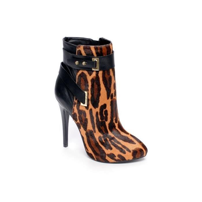 Bottines Shanday léopard (40 - Marron)