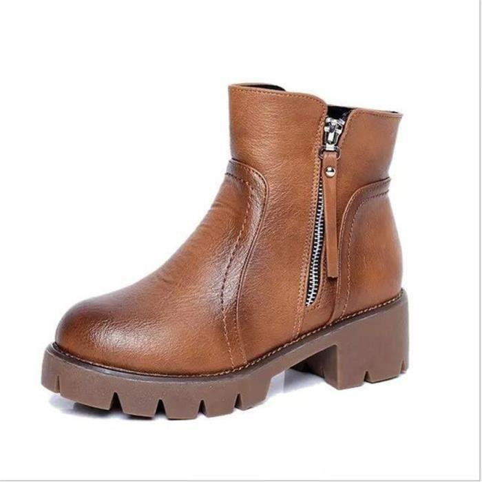 Bottines Femmes Automne Hiver talon épais en cuir bottes CHT-XZ019Marron39