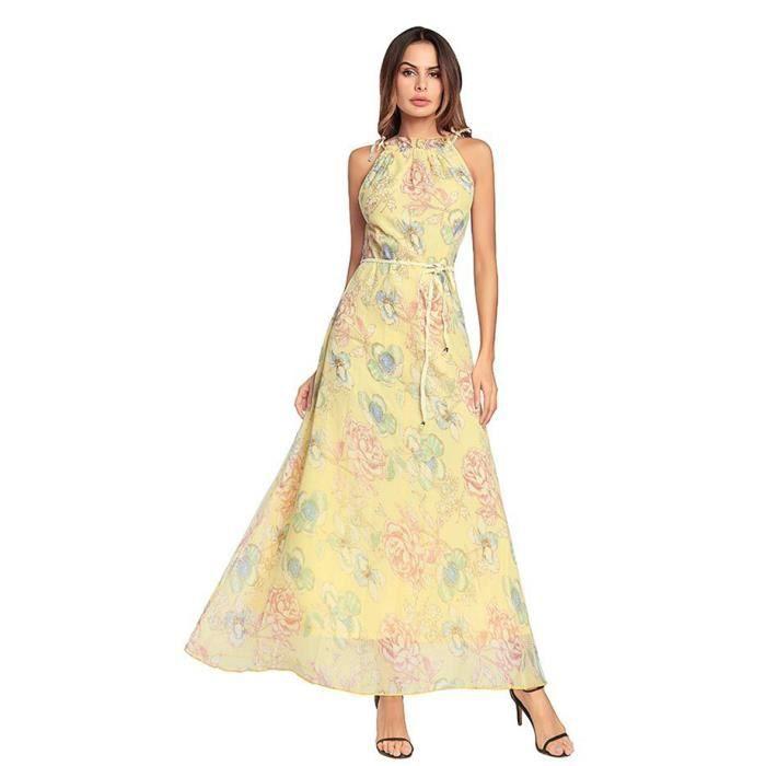 WoWa® Femme Robe Bohême Maxi Longue Floral Imprimé Robe de Plage Robe de  Cocktail , Jaune