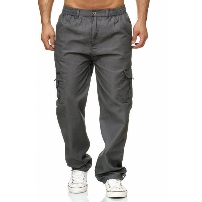 Hommes Pour Gris Cargo Uni Élastiqué Pantalon H2301 qa5ESz5x